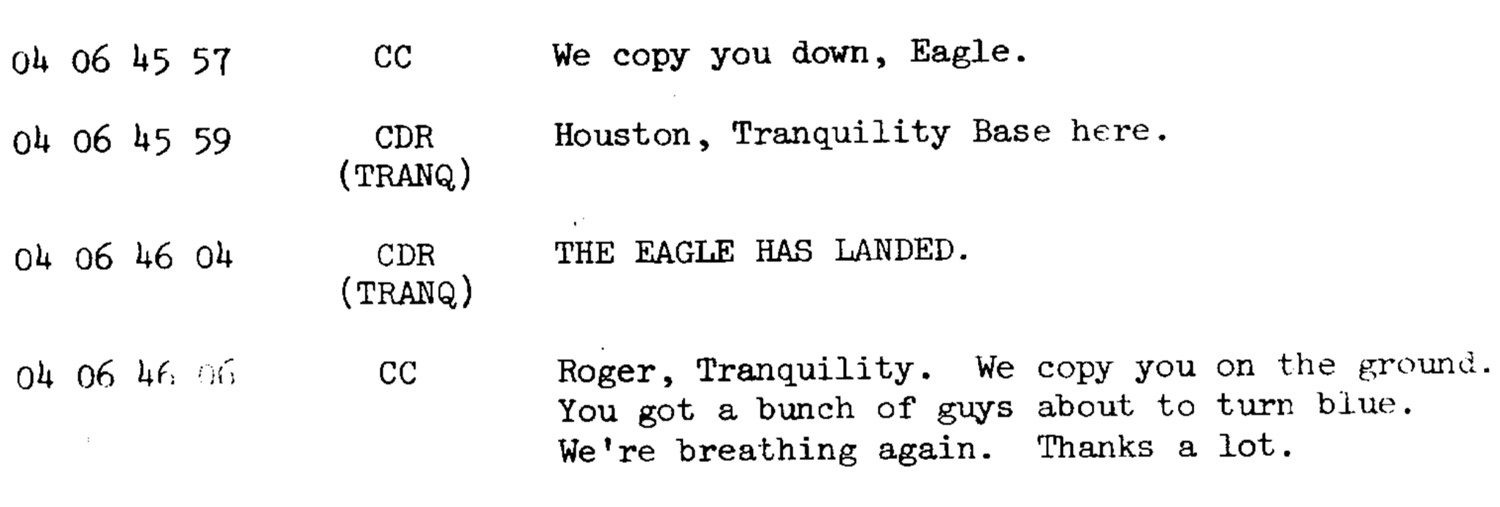 Crop of transcript with 'The Eagle has landed'