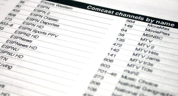 Comcast channel list: version 1