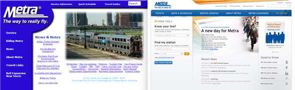 Screenshots of Metra's site: before (left) and after (right)