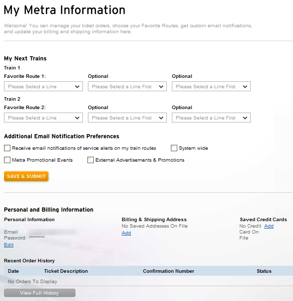 Screenshot of Metra's new home page