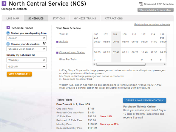 Screenshot of Metra's new schedule for the North Central Service