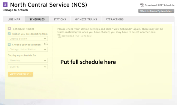 Screenshot of Metra's landing page for a schedule with a suggestion of including the full schedule