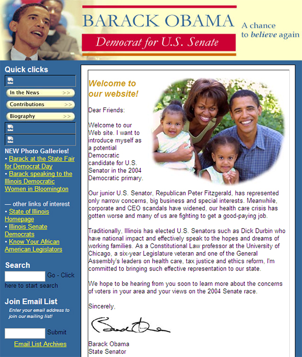 Screenshot of the first version of obamaforillinois.com