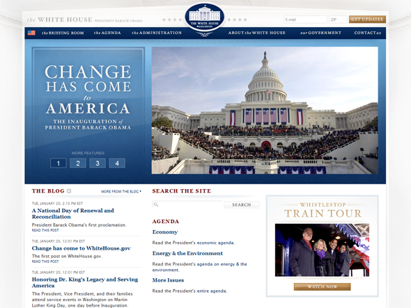 Screenshot of the White House site