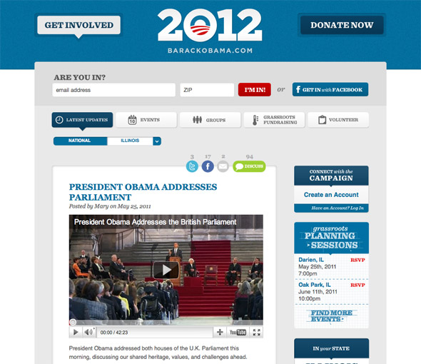 Screenshot of the 2012 re-election campaign site