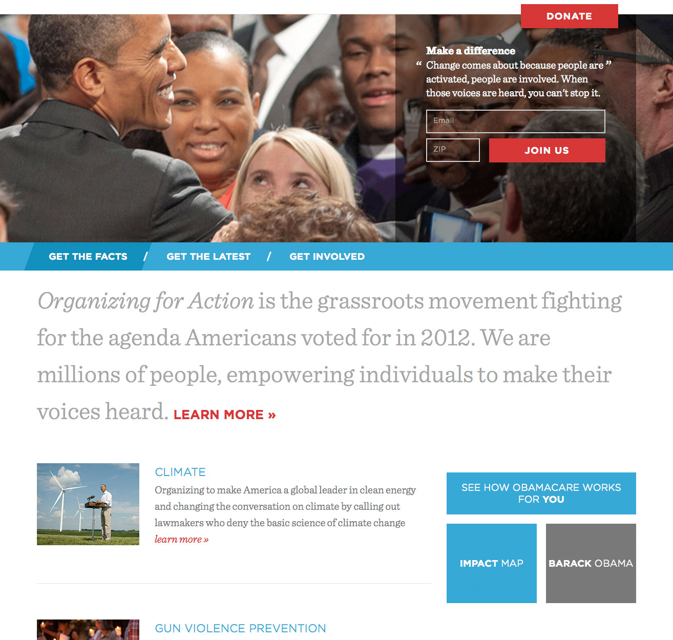 Screenshot of the 2013 Organizing for Action website