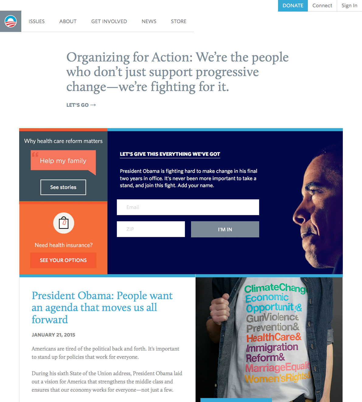Screenshot of the 2015 Organizing for America website