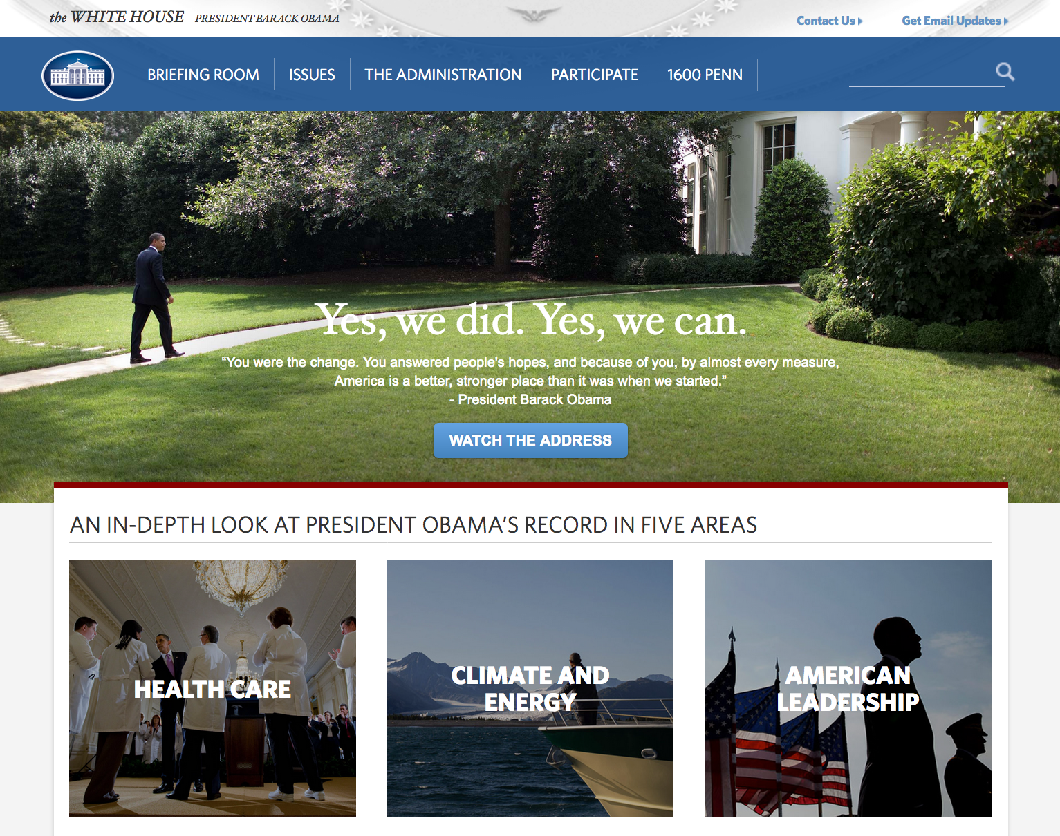 Screenshot of the 2017 White House website