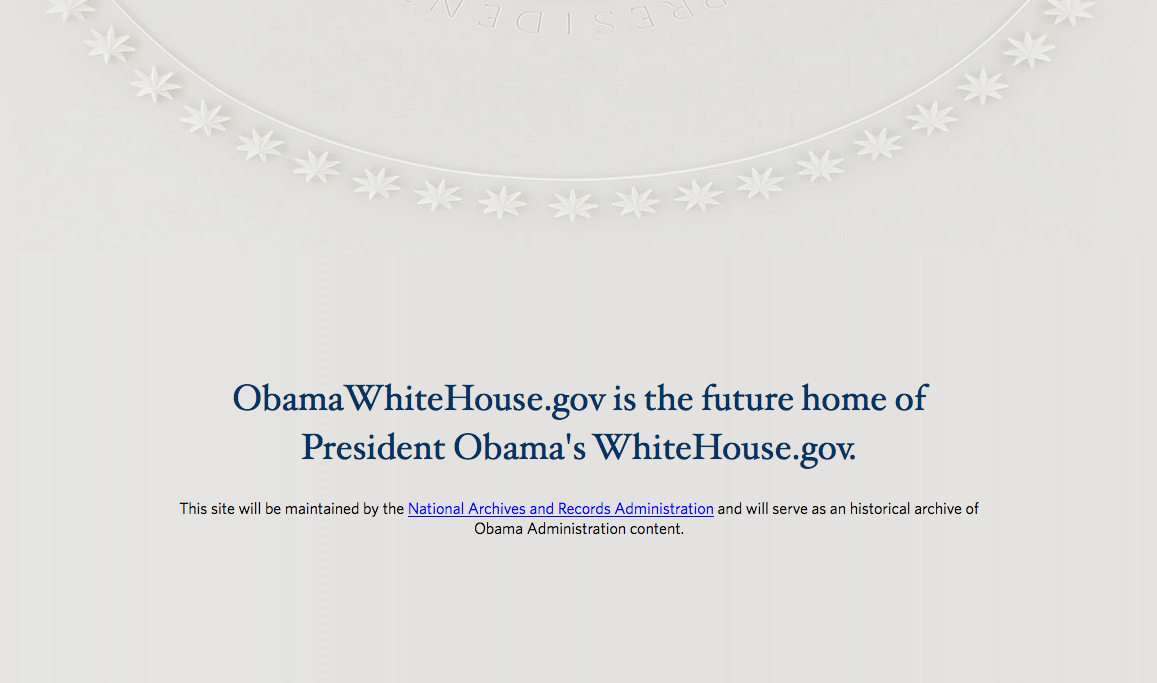 Screenshot of the Obama's White House website archive