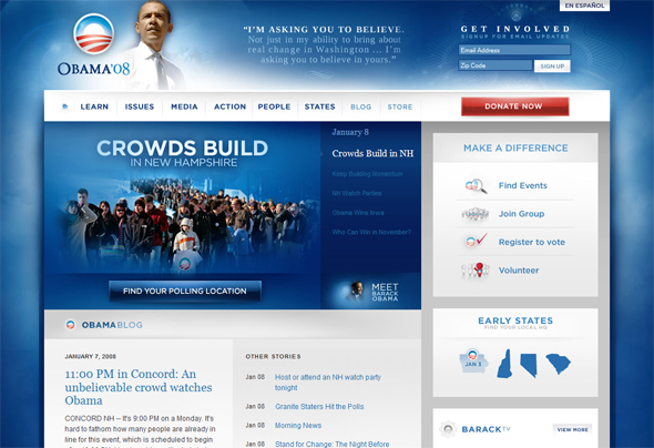 Screenshot of Obama's campaign redesign in early 2008