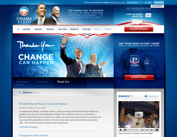 Screenshot of Obama's campaign site after winning the presidency