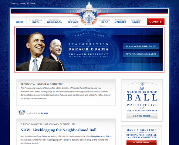 Screenshot of the presidential inauguration site