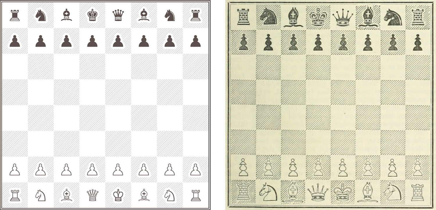 Chess board reproduction side-by-side with original scan