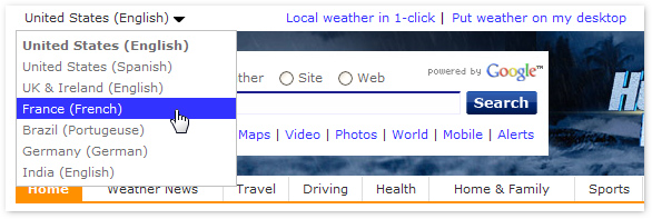 Screenshot of search box obscured by drop-down menu